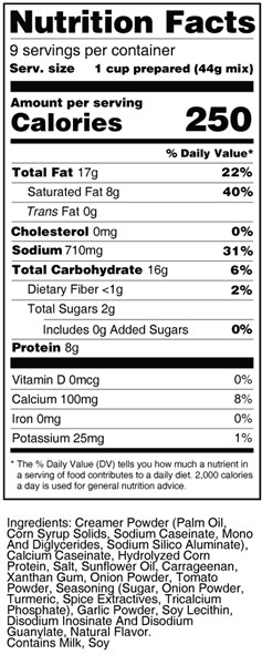bernard high protein cream soup mix nutrition facts