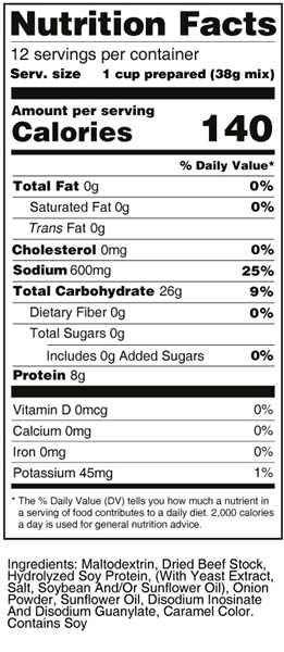 bernard high protein beef broth nutrition facts