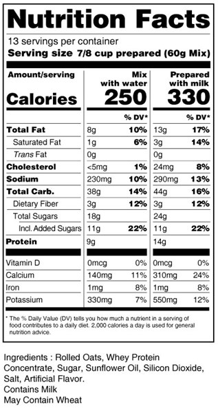 bernard high protein oatmeal nutrition facts