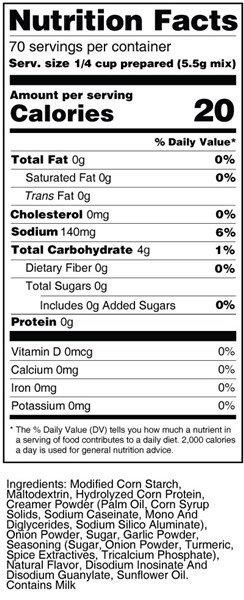 bernard low sodium chicken instant gravy mix nutritional facts