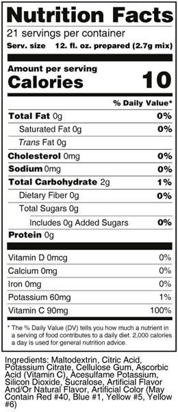 calorie control flavored drink mix - cherry nutrition facts