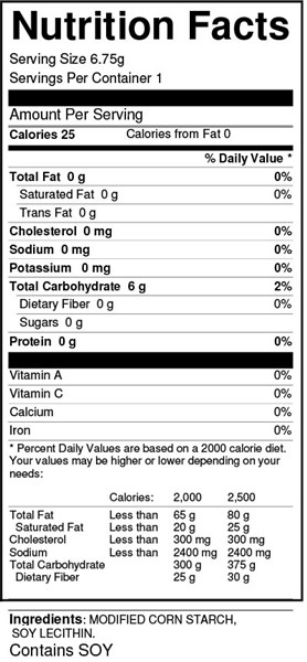 Ultra Thixx Thickner 6.75g pouch nutrition facts