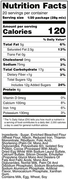bernard hi-pro chocolate brownie mix nutrition facts