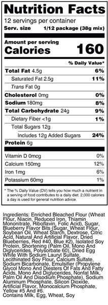 bernard hi-pro blueberry muffin mix nutrition facts