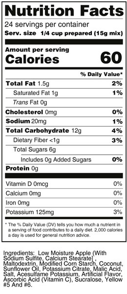 calorie control pina colada fruit treat nutrition facts