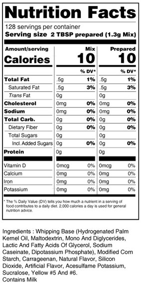 calorie control whipped topping mix nutrition facts