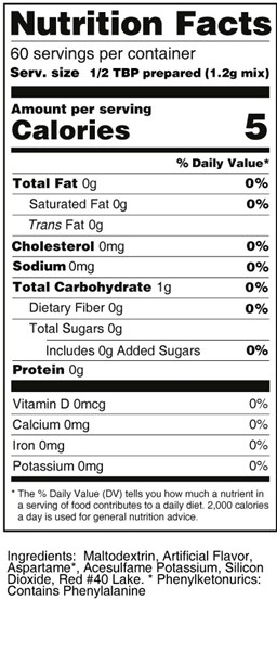 calorie control sugar substitute strawberry flavor nutrition facts