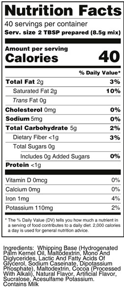 calorie control chocolate whipped frosting nutrition facts
