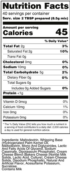 calorie control cream cheese whipped frosting nutrition facts