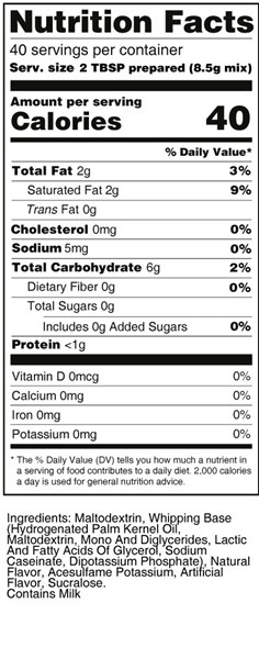 calorie control white whipped frosting nutrition facts