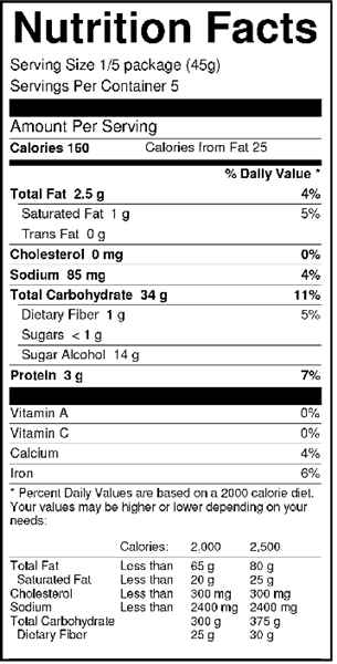 Sweet 'N Low Banana Cake Mix Nutrition Facts