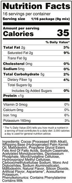 Sweet 'N Low Chocolate Frosting Mix Nutrition Facts