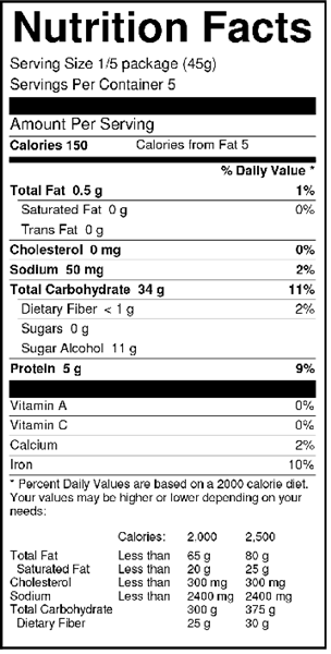 Sweet 'N Low Pancake Mix Nutrition Facts