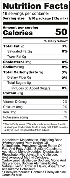 Sweet 'N Low White Frosting Mix Nutrition Facts